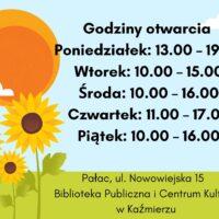 Informacja o godzinach otwarcia biblioteki w Kaźmierzu